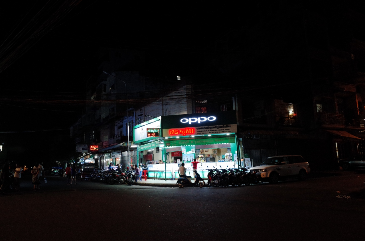 Late night phone shops in Phnom Penh